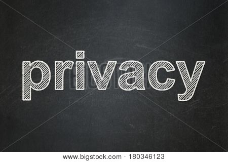 Privacy concept: text Privacy on Black chalkboard background