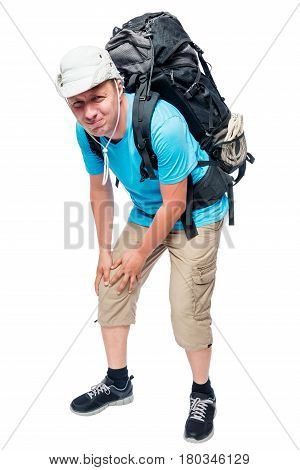 Portrait Of A Tourist Man With A Sick Knee Against A White Background