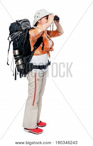 Traveler With A Backpack Looking In Binoculars, Portrait In Full Length Isolated