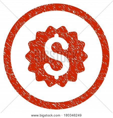 Financial Reward Seal grainy textured icon inside circle for overlay watermark stamps. Flat symbol with dirty texture.