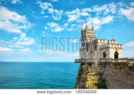 The castle Swallow's Nest on the rock in the Black Sea in Crimea, Russia