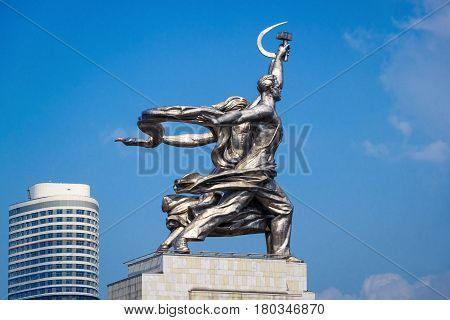 MOSCOW - JULY 29, 2016: Famous soviet monument Worker and Kolkhoz Woman (Worker and Collective Farmer) of sculptor Vera Mukhina. Made of stainless steel in 1937.