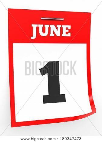 June 1. Calendar On White Background.