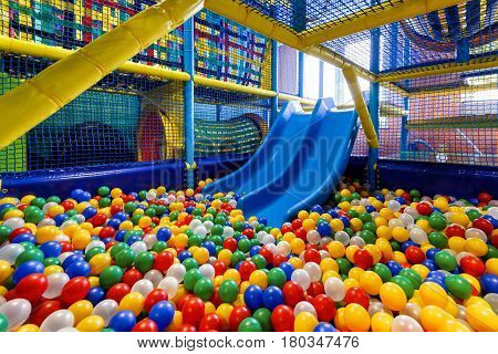 MOSCOW - JANUARY 13, 2014: A modern children playground indoor.