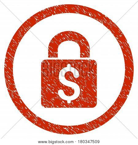 Pay Lock grainy textured icon inside circle for overlay watermark stamps. Flat symbol with unclean texture. Circled dotted vector red ink rubber seal stamp with grunge design on a white background.