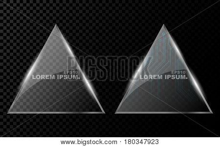 A banner from a flat realistic triangle with sharp corners a hexagon and from a shining bright 3d glass on a dark transparent background. New technology cyber texture beautiful blue pattern. Shine from glass