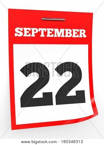 September 22. Calendar On White Background.