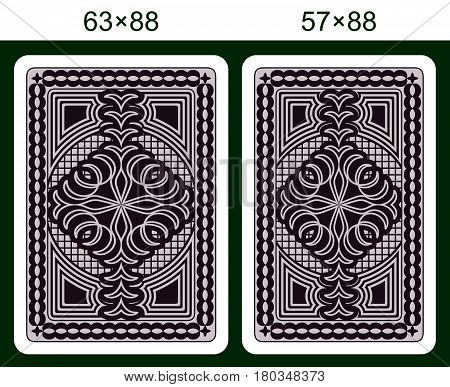 Playing Card Back Side Design. Cards of Different Size on a Green Background.