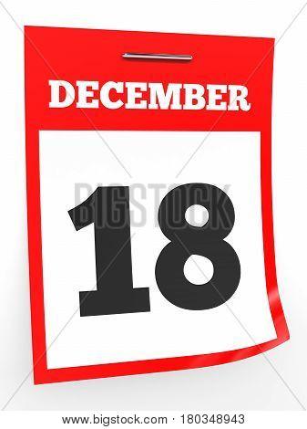 December 18. Calendar On White Background.