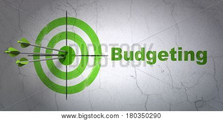 Success finance concept: arrows hitting the center of target, Green Budgeting on wall background, 3D rendering