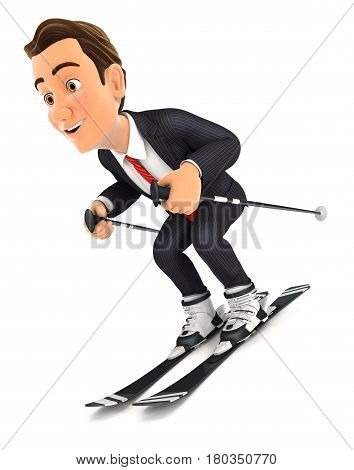 3d businessman skiing illustration with isolated white background