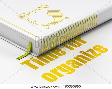 Time concept: closed book with Gold Alarm Clock icon and text Time For Organize on floor, white background, 3D rendering