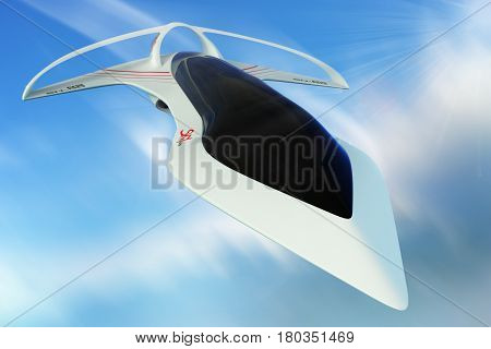 Design concept supersonic aircraft business class line horizon. The project was developed on the basis of technical laws of aerodynamics. 3D illustration.