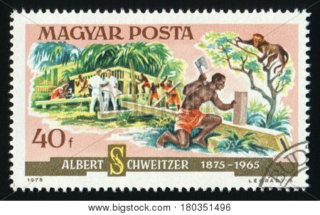 HUNGARY - CIRCA 1975: A postage stamp printed in Hungary showing Albert Schweitzer, who built up a Lambarene Hospital in Africa, circa 1975.