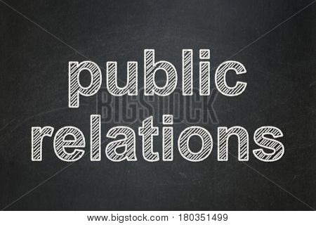 Advertising concept: text Public Relations on Black chalkboard background