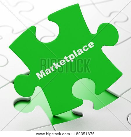 Advertising concept: Marketplace on Green puzzle pieces background, 3D rendering
