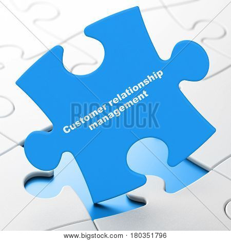 Advertising concept: Customer Relationship Management on Blue puzzle pieces background, 3D rendering