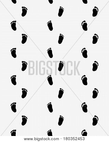 Footsteps of baby on a gray background, seamless pattern