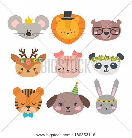 Cute Animals With Funny Accessories. Cartoon Zoo. Set Of Hand Drawn Smiling Characters. Cat, Lion, P