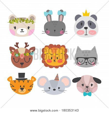 Cute Animals With Funny Accessories. Set Of Hand Drawn Smiling Characters. Cartoon Zoo. Cat, Lion, P