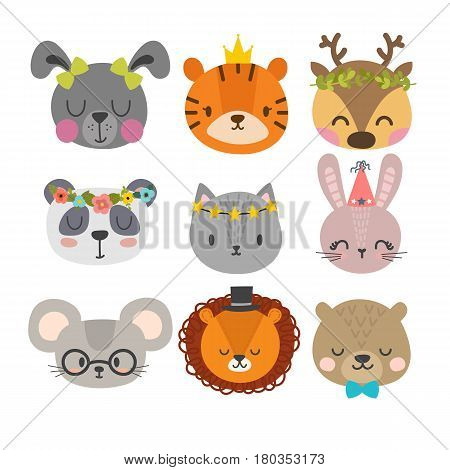 Cute Animals With Funny Accessories. Set Of Hand Drawn Smiling Characters. Cat, Lion, Panda, Bunny,