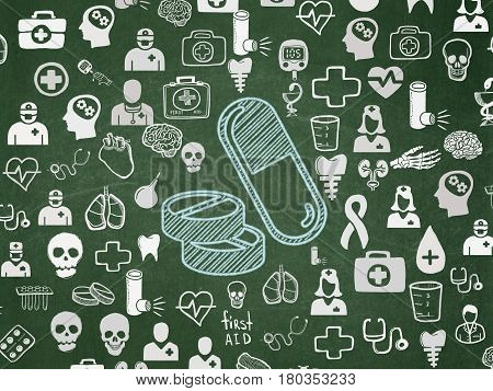Healthcare concept: Chalk Blue Pills icon on School board background with  Hand Drawn Medicine Icons, School Board