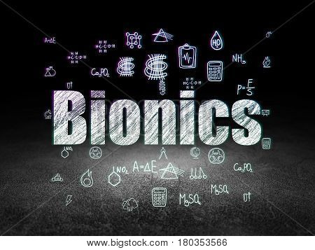 Science concept: Glowing text Bionics,  Hand Drawn Science Icons in grunge dark room with Dirty Floor, black background