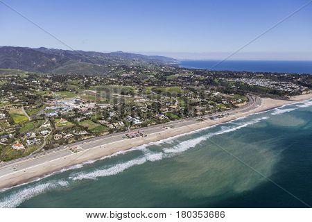 Aerial view of Zuma Beach and the Pacific Coast in scenic Malibu, California.