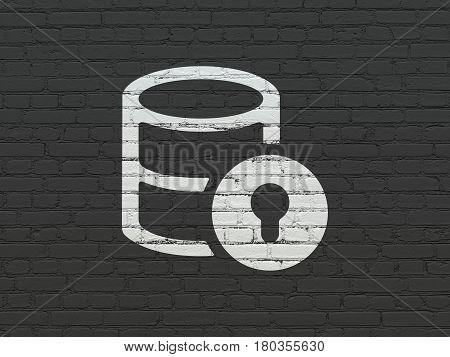 Database concept: Painted white Database With Lock icon on Black Brick wall background
