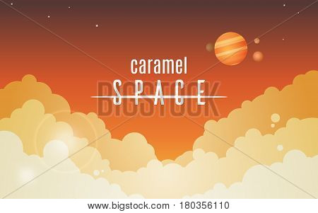 Cosmic sky with orange clouds simple vector background Caramel Space