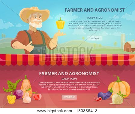 Colorful agriculture horizontal banners with agronomist on farm landscape fresh vegetables and organic fruits vector illustration