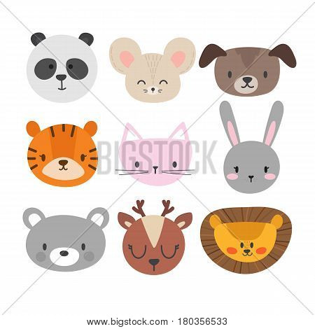 Set Of Cute Hand Drawn Smiling Animals. Cat, Bunny, Panda, Lion, Tiger, Dog, Deer, Mouse And Bear. C
