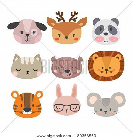 Set Of Cute Hand Drawn Smiling Animals. Cat, Lion, Panda, Dog, Tiger, Deer, Bunny, Mouse And Bear. C