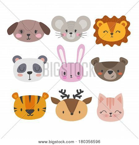 Set Of Cute Hand Drawn Smiling Animals. Cat, Panda, Tiger, Dog, Deer, Lion, Bunny, Mouse And Bear. C