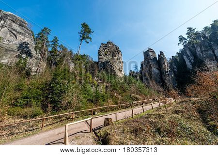 Nature reservation Prachovske skaly - group of sandstone formations 7 km northwest of Jicin. CHKO Bohemia Paradise.