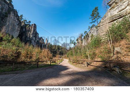 Nature reservation Prachovske skaly - group of sandstone formations 7 km northwest of Jicin. CHKO Bohemia Paradise.