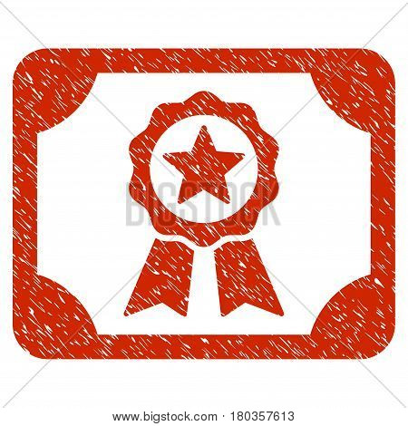 Grunge Certificate icon with grunge design and unclean texture. Unclean vector red pictogram for rubber seal stamp imitations and watermarks. Draft sign symbol.
