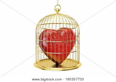 Birdcage with red heart 3D rendering isolated on white background