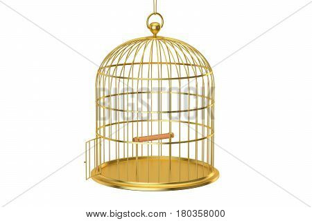 Golden bird cage with open door 3D rendering isolated on white background