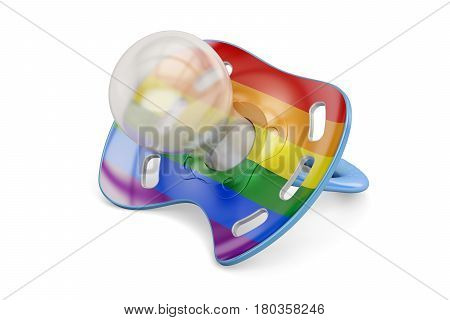LGBT adoption concept baby pacifier with rainbow gay flag. 3D rendering