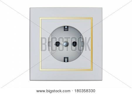 white electrical outlet 3D rendering isolated on white background