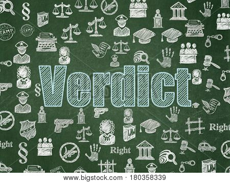 Law concept: Chalk Blue text Verdict on School board background with  Hand Drawn Law Icons, School Board