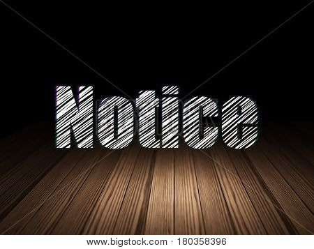 Law concept: Glowing text Notice in grunge dark room with Wooden Floor, black background