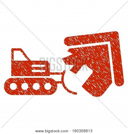 Grunge Demolition icon with grunge design and dirty texture. Unclean vector red pictogram for rubber seal stamp imitations and watermarks. Draft emblem symbol.