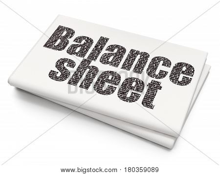 Currency concept: Pixelated black text Balance Sheet on Blank Newspaper background, 3D rendering