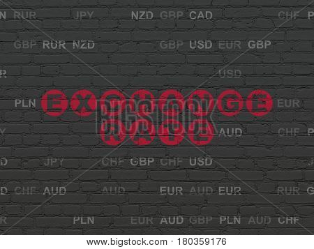 Currency concept: Painted red text Exchange Rate on Black Brick wall background with Currency