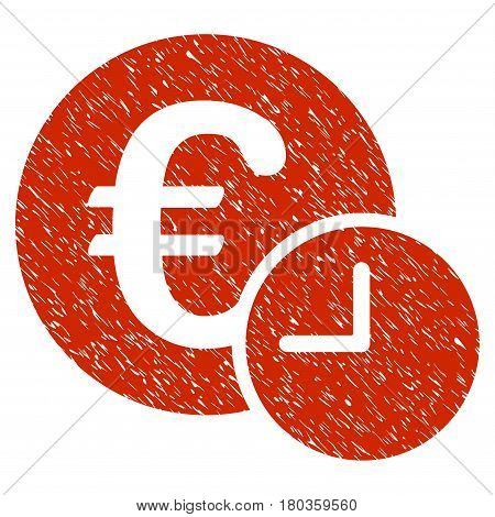 Grunge Euro Credit icon with grunge design and dirty texture. Unclean vector red pictogram for rubber seal stamp imitations and watermarks. Draft sticker symbol.