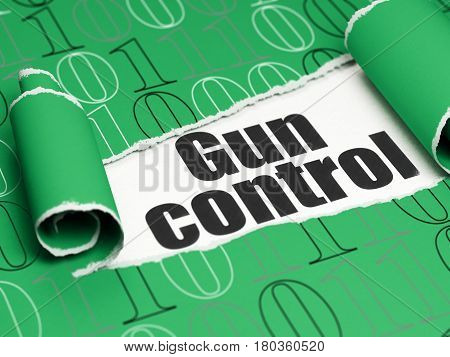 Protection concept: black text Gun Control under the curled piece of Green torn paper with  Binary Code, 3D rendering