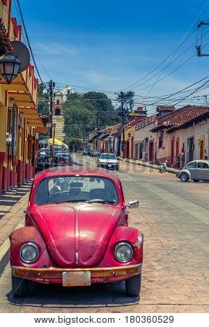 View on colorful street in San Cristobal de las Casas