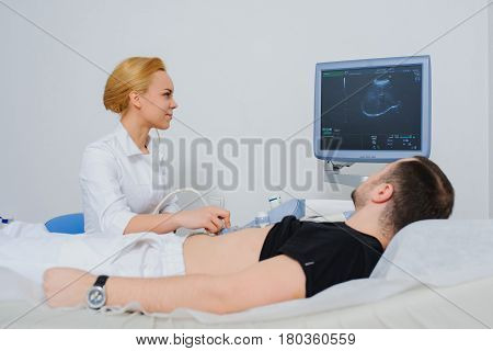 Doctor Examine A Patient Abdomen Usg